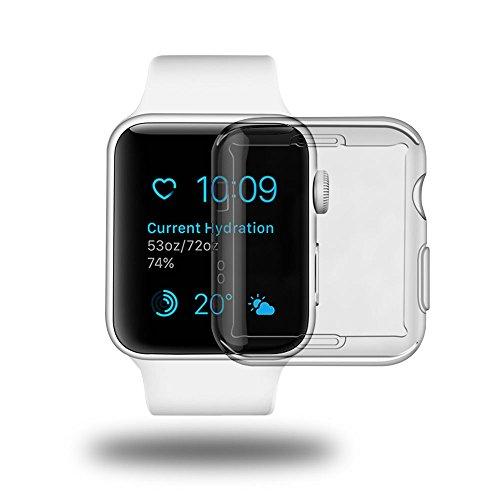 Galleria fotografica aceyoon Custodia Apple Watch 38mm 2 Pack Ultra Thin TPU i Watch Series 2 Screen Protector All-Around Protection for Apple Watch Series 2 38 mm Cover Case Clear