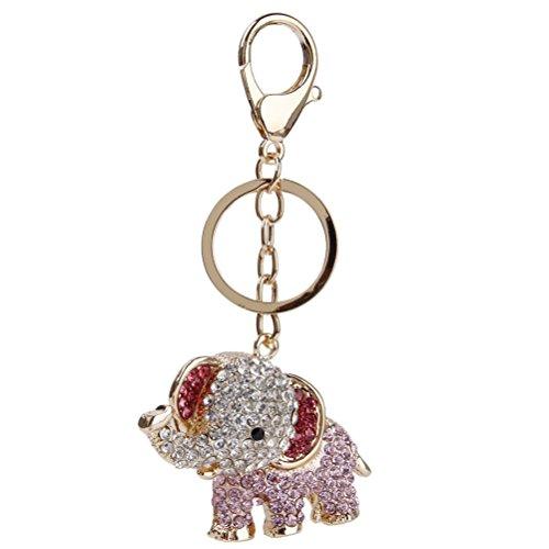 VORCOOL Metall Schlüsselanhänger Schlüsselring mit Strass Elefant Anhänger Charme (Strass-schnalle Handtasche)