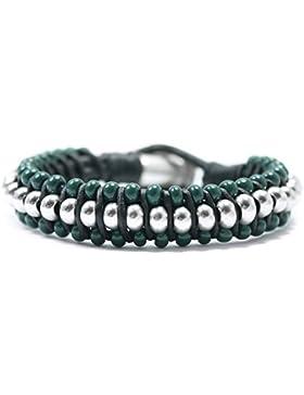 Beau Soleil Jewelry Schmuck Armband Lederarmband Schwarz oder Braun mit Kugeln Oliv Grün Ethno-Armband Damen Herren...
