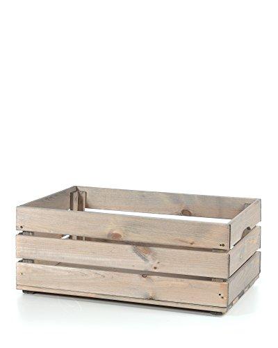 myHomery Holzkiste Vintage - Deko-Weinkiste Groß - Kiste aus Holz - Obstkiste Groß Aufbewahrung - Dekokiste für Indoor - Grau   58x39 (Holz-vintage-kiste)