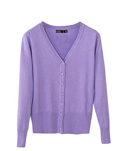 Donne comodo cardigan in maglia v collare manica lunga colore puro viola scuro m