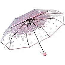 Patrón paraguas plegable paraguas Claro cereza compacto Paraguas para las muchachas Mujeres Half-automático (rosa)