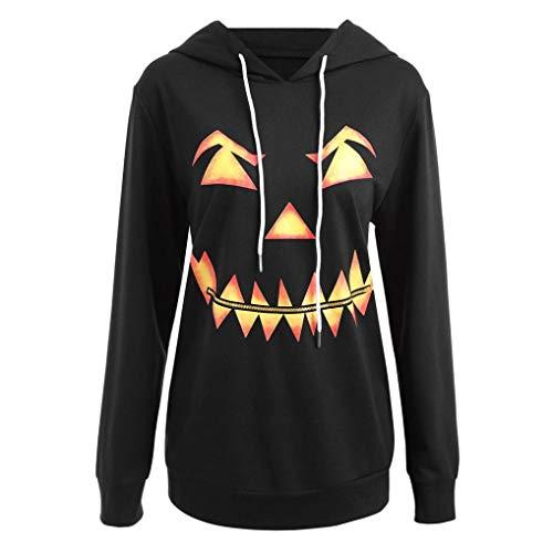 VEMOW Herbst Winter Casual Damen Langarm Mit Kapuze Halloween Kordelzug Gedruckt Party Tägliche Mode Hoodie Sweatshirt Tops(Schwarz, EU-48/CN-2XL)