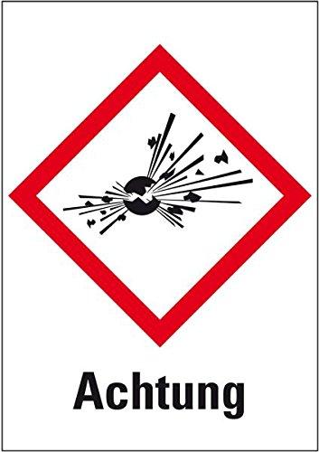 LEMAX® Gefahrensymbol Explodierende Bombe GHS01, Achtung, Folie, 105x148mm (Gefahrensymbole)