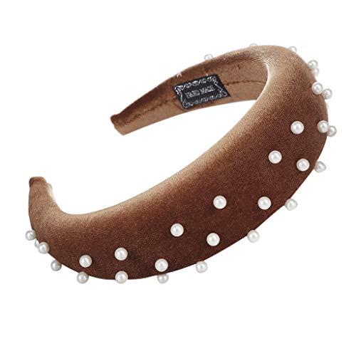 YWLINK Mode Samt Sport Haarband Volltonfarbe Damen Haar Kopfband Einfache SüßE MäDchen Stirnband (D Kaffee, Einheitsgröße)