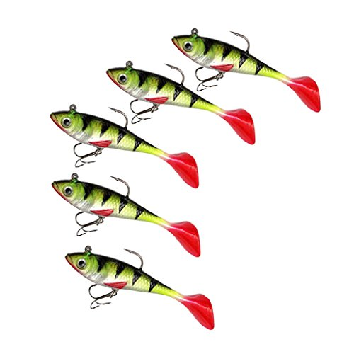 ELECTROPRIME 5Pcs 8.5cm Soft Plastic Baits Lures Lead Jig Head Fishing Tackle Sharp Hooks