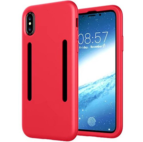 iPhone X Cover, 360 Full Edge Armlet Walking Running Arm Band Sling Belt Outdoor Portable Soft EnCover Custodia IC Card Slot, TAITOU Cool Go Hiking Climb Sports Light Slim Cover for Apple iPhone X Red BRed