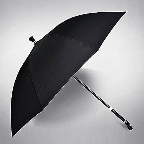 SSBY Envoyer leurs parents, parapluie canne multi-fonction, renforcé Super longue tige parapluies pour le parapluie de vieilles personnes âgées, de défense anti-dérapant randonnée , black