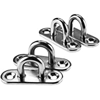 Micro Trader 4PCS 5MM STAINLESS STEEL OBLONG PAD EYE PLATE STAPLE RING HOOK
