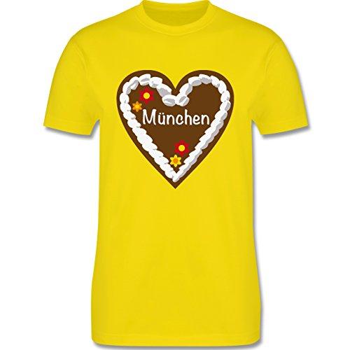 Oktoberfest Herren - Lebkuchenherz München - Herren Premium T-Shirt Lemon Gelb