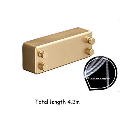 HJHSH Wäscheleine Wäscheleine, Balkon einziehbare Wäscheleine Innen stanzfreie Kleidung Quilt unsichtbar Wäscheständer Edelstahl Drahtseil einziehbar 4,2 Meter (Color : Gold)