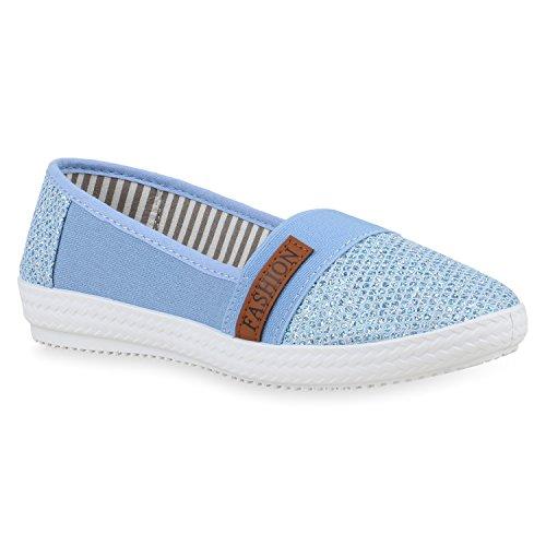 Stivali Paradiso Sportivo Signore Ballerine Comode Pantofole Appartamenti Scarpe Casual Slip-ons Sole Suola Stampe Glitter Flandell Azzurro