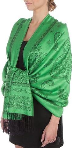PashPais95AG Sakkas Lightweight Two Tone Paisley Design Pashmina Fringe Scarf / Stole / Wrap - Kelly Green /