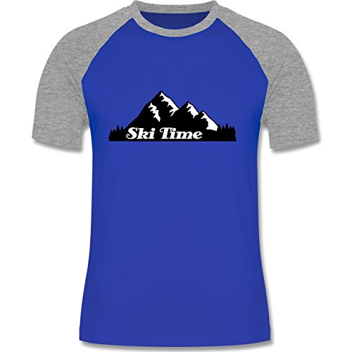 Wintersport - Ski Time - zweifarbiges Baseballshirt für Männer Royalblau/Grau  meliert