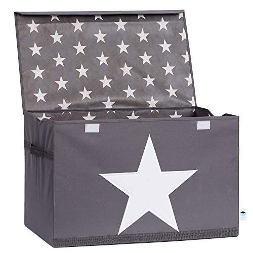 STORE.IT 670360 Spielzeugtruhe, grau mit weißem Stern, Polyester/MDF, 61 x 37 x 38 cm