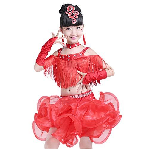 Children's wear Kostüme für Kinder, helle Diamanten für Mädchen Quasten Latin-Rumba-Tanzanzüge, geeignet für Bühnenauftritte, nationaler Standardtanz (120-170 cm) (Diamant Kostüm Für Kinder)