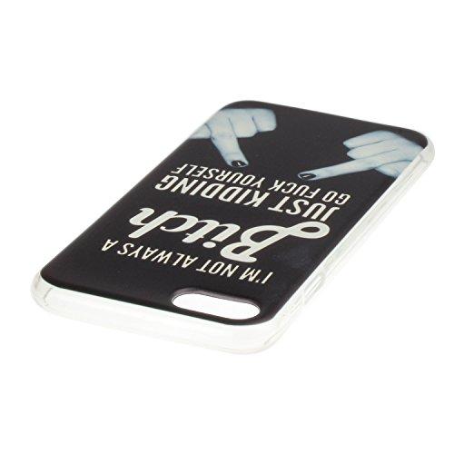 iPhone 7 Hülle,iPhone 7 Silikon Case,iPhone 7 Cover - Felfy Ultradünne Weicher Gel Flexible Soft TPU Silikon Transparent Hülle Schutzhülle Hülle Color Muster Farbmalerei Beschützer Hülle Handy Durchsi Mittelfinger
