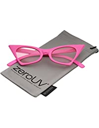 1a87762f08 zeroUV - Retro Small High Pointed Tinted Colored Oval Lens Cat Eye  Sunglasses 46mm (Pink