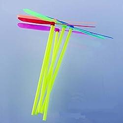 Libélula de bambú de plástico 10 piezas Bambú-copter Juguetes para niños clásicos -Color Aleatorio