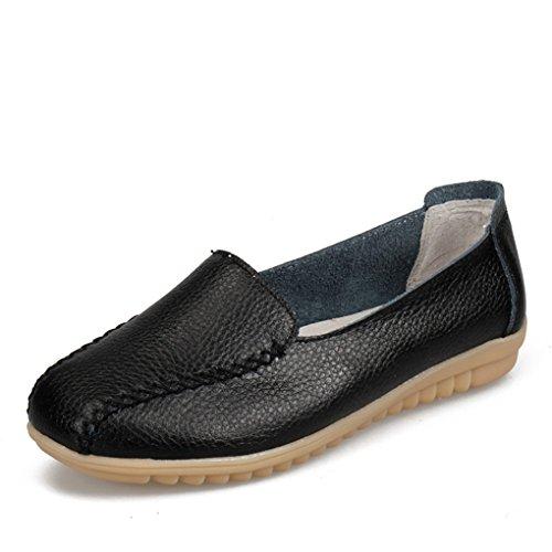 YY-Rui Damen Mokassin Bootsschuhe Leder Loafers Schuhe Flache Fahren Halbschuhe Slipper Casual Damenschuhe Schwarz