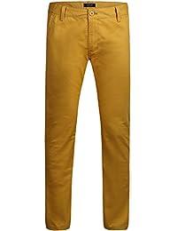 SSLR Pantalon Homme Casual Droit Slim Fit Moderne Uni en Coton (W42, Gingembre)