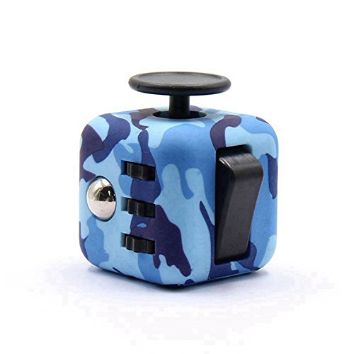 Dohomai 6 sides Fidget Cube Decompression Dice for Children and Adults Relieves Stress Anxiety and Attention Toy at your finger tips (Army blue)