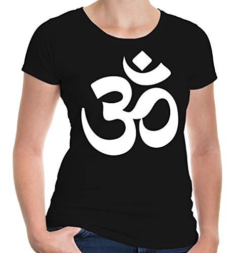 buXsbaum Damen Girlie T-Shirt Om Zeichen | Indien Meditation Hinduismus Aum | M, Schwarz