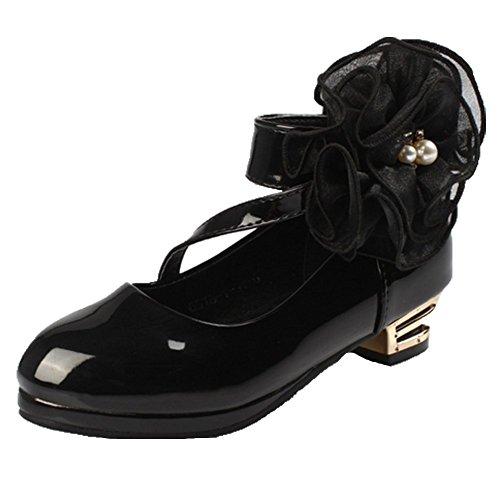 OPSUN Ballerines à bride Enfants Filles Chaussure de Danse Cérémonie Mariage Escarpin demoiselle d'honneur Babies Noir