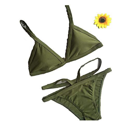 Damen Sommer Bikini Set FORH Reizvolle Neckholder Beachwear Frauen Push-Up Gepolsterte BH Und Sexy Strandhose Zweiteiler Badeanzug Strandmode Schwimmanzug Swimsuit (S, Armygrün)