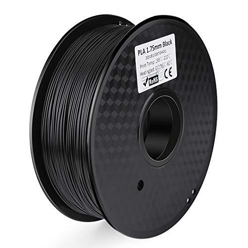 ELEGOO PLA Filamento de Impresora 3D, Precisión Dimensional +/- 0.03 mm, 1kg Carrete, 1.75mm-Negro