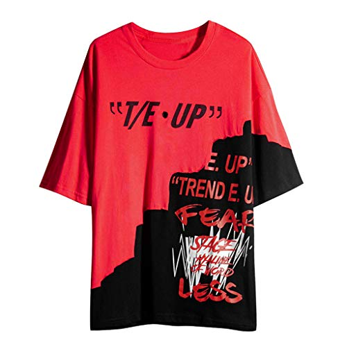 kolila Unisex Hip-Hop T-Shirts Tops Sommer Casual Graffiti Brief Print Streetwear Stil Pullover Tops Tee Herren Damen (Herren-knie Hoch Socken Kleid)
