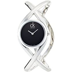 Calvin Klein Women's Quartz Watch with Black Dial Analogue Display and Silver Stainless Steel Bracelet K2L23102