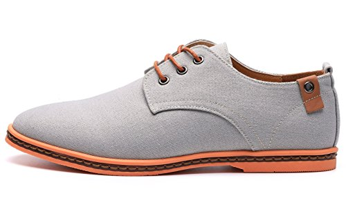 DADAWEN Men's Canvas Oxford Casual Shoes Gray UK Size 10.5