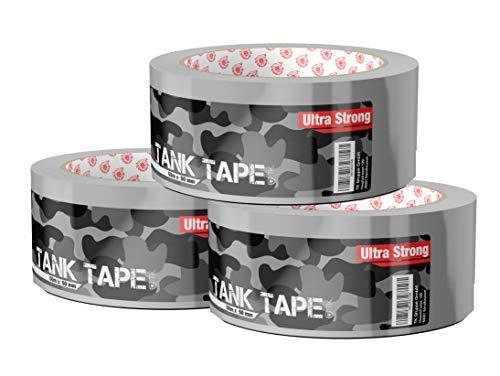 3x Panzertape Tank Tape 2.0 - Gewebeklebeband 50 Meter * 50 mm, ultrastark & witterungsbeständig Panzerklebeband Reperaturband Gewebeband Duct Tape silber