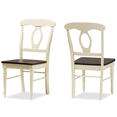 Baxton Studio Laurence French Country Cottage Dining Chair (2 Pack), Buttermilk/Cherry