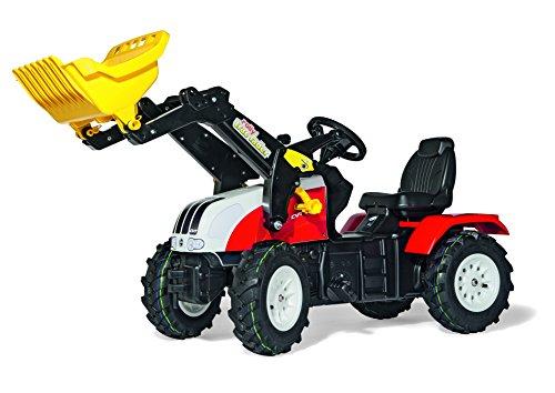 Rolly Toys 046331 Traktor Farmtrac Classic Steyr CVT 6240 inklusive Frontlader Trac Lader, mit Kettenantrieb, Luftbereifung, verstellbarem Sitz (für Kinder von 3 - 8 Jahren, TÜV/GS geprüft, Farbe Rot/Weiß)