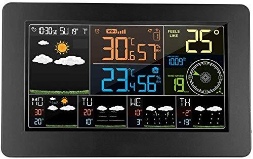 Knoijijuo Estación meteorológica habitación Sensor Exterior inalámbrico termómetro higrómetro...