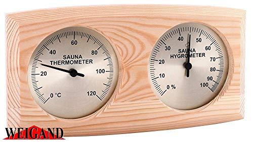 Weigand NELINPELI Thermometer - Hygrometer Kombination I Nachjustierbar I Nebeneinander angeordnet I In schönem Holzrahmen I Sauna I Saunazubehör