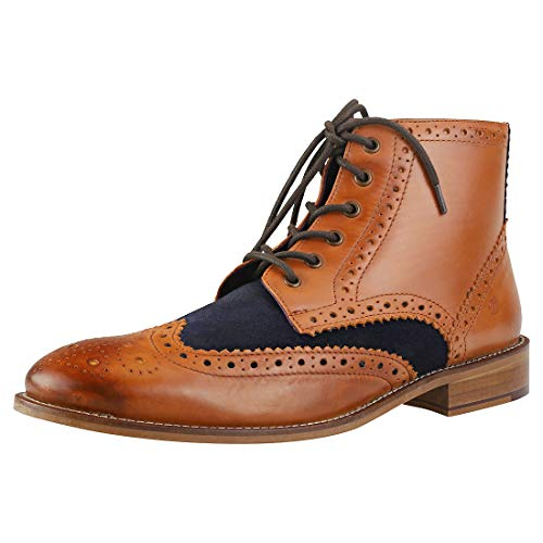 London Brogues Gatsby Hi Boot Tan/Navy 9 TAN/Navy