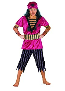 FIORI PAOLO 27070-Pirata tatuato disfraz niño, 5-7años, rojo/negro