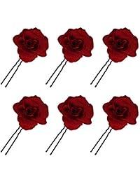 Horquillas con Rosas Pinzas de Pelo Tocado de Novia Pin de Flores de Boda Broche Accesorios de Cabello de Fiesta para Mujeres Niñas, 6 Unids Rojo Hebillas de pelo