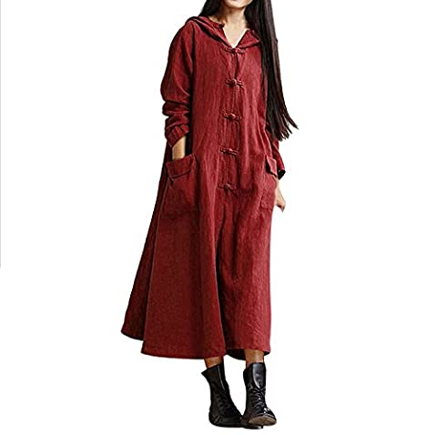 BBring Damen Mode Plus Größe Hooded Casual Leinen Lose Lange Maxi Kleid Lange Ärmel Kleid Mantel Jacke (5XL, Wein)