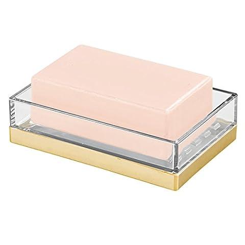 mDesign porte-savon – porte savon mural – porte savon en plastique résistant – transparent/ or brossé