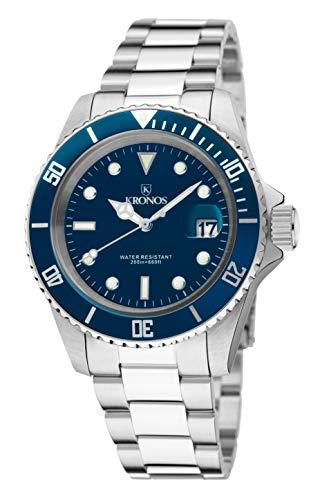 KRONOS - Sport Q 200MTS Black 977.8.65 - Reloj Diver de Caballero de Cuarzo, Brazalete de Acero, Color...