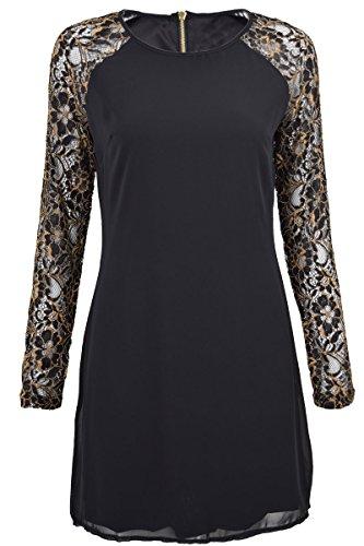 QED - Robe femme - Manches contrastées À dentelle - Fermeture décorative - Longueur mini Noir/Doré