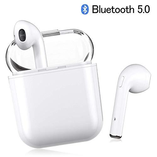 AIJEESI V5.0 Auricolari Bluetooth con Audio Stereo HD Microfono con cancellazione del Rumore,Supporto Che Utilizza in Modo Indipendente