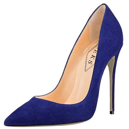 EKS - Scarpe con Tacco Donna Blu (Blau-Wildleder)