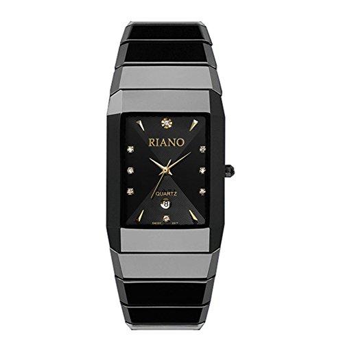 Black ceramic Watch/Einfache Quarzuhr/Quadratisch wasserdicht Herrenuhr-A