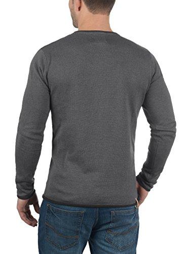 REDEFINED REBEL Maison Herren Strickpullover Feinstrick Pulli mit Rundhals-Ausschnitt aus 100% Baumwolle Meliert Antracit Grey