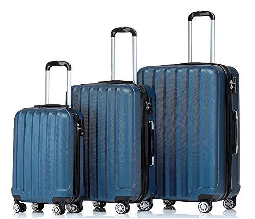 BEIBYE TSA-Schloß 2080 Hangepäck Zwillingsrollen Reisekoffer Koffer Trolley Hartschale Set-XL-L-M(Boardcase) (Blau, Set)